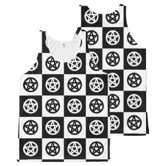 Black and White Checkerboard with Pagan Pentacles All-Over-Print Tank Top
