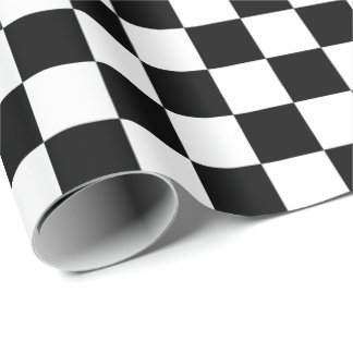 Black And White Checkered Board Pattern Wrapping Paper
