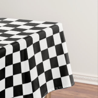 Black And White Checkered Checkerboard Pattern Tablecloth