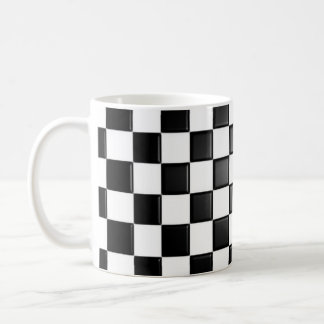 Black and white checkered coffee mug