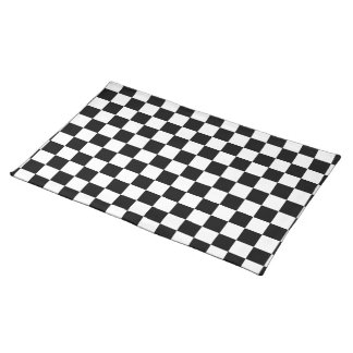 Black and White Checkered Cotton Placemat