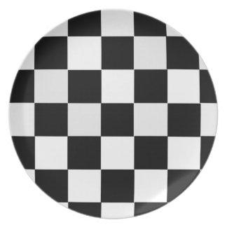 Black and White Checkered Dinner Plates