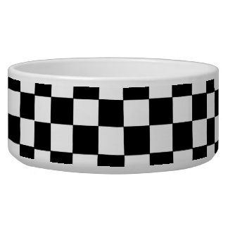Black And White Checkered Dog Water Bowls