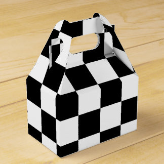 Black and White Checkered Flag Boys Party Gift Box Party Favor Box