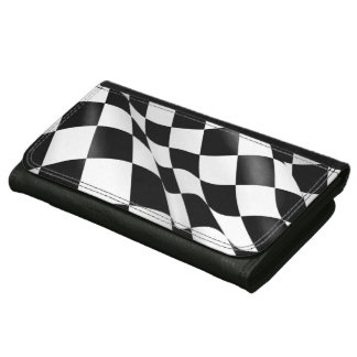 Black and White Checkered Flag Chequered Flag Wallets For Women