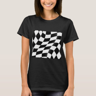 Black And White Checkered Flag Womens T-Shirt