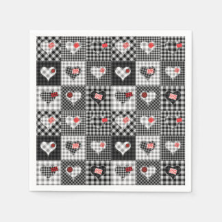 Black and White Checkered Gingham Paper Napkins