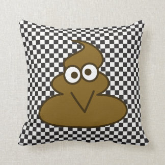 Black And White Checkered Pattern And Poop Emoji Throw Pillow