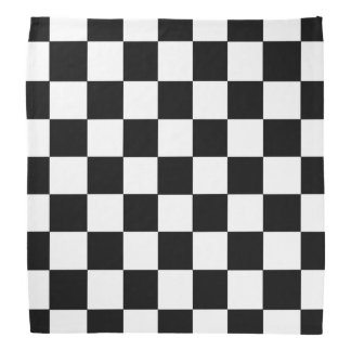 Black And White Checkered Pattern Bandanna