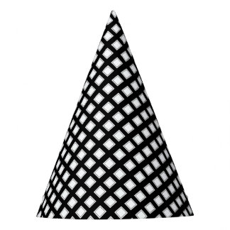 Black and White Checkered Pattern Party Hat