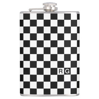 Black And White Checkered Pattern Personalized Hip Flask