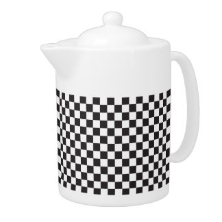 Black And White Checkered Pattern Teapot