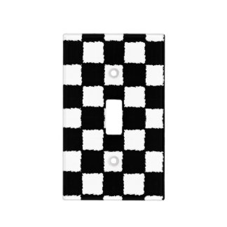 Black and White Checkered Splatter Effect Light Switch Cover