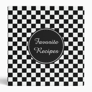 Black and White Checkered Squares Binder