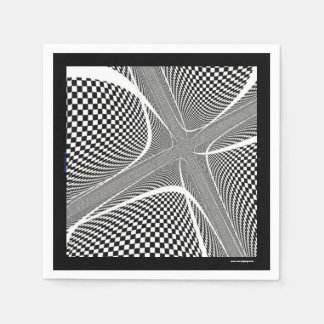 Black and White Checkered Swirl Disposable Napkins