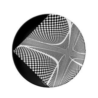 Black and White Checkered Swirl Porcelain Plates