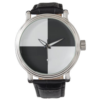 Black and White Checkered Wristwatch