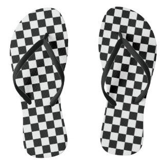 Black and White Checkers at the Beach Flip Flops
