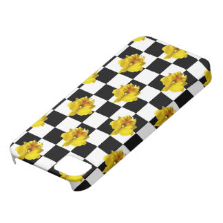 Black and White Checks with Yellow Orchid Case For The iPhone 5