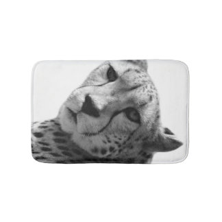 Black and white cheetah animal photo bath mat