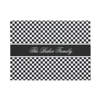 Black and White Chequerboard ID148 Doormat