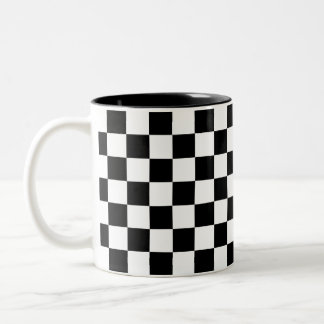 Black and White Chequerboard Two-Tone Coffee Mug