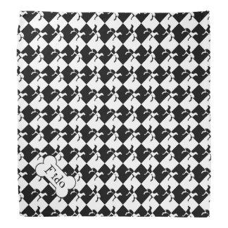 Black and White Chequerboard Weimaraner Bandana