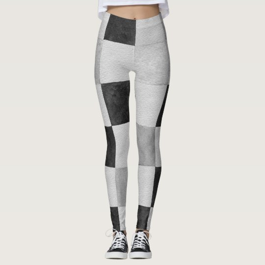 Black and White Chequered Board Leggings