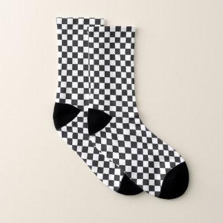 Black and White Chequered Design Socks 1