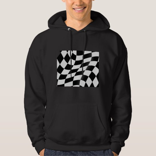 Black And White Chequered Flag Mens Hoodie