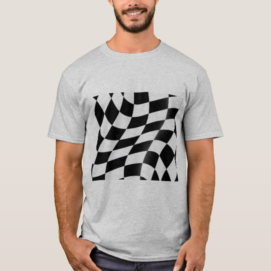 Black And White Chequered Flag Mens T-Shirt