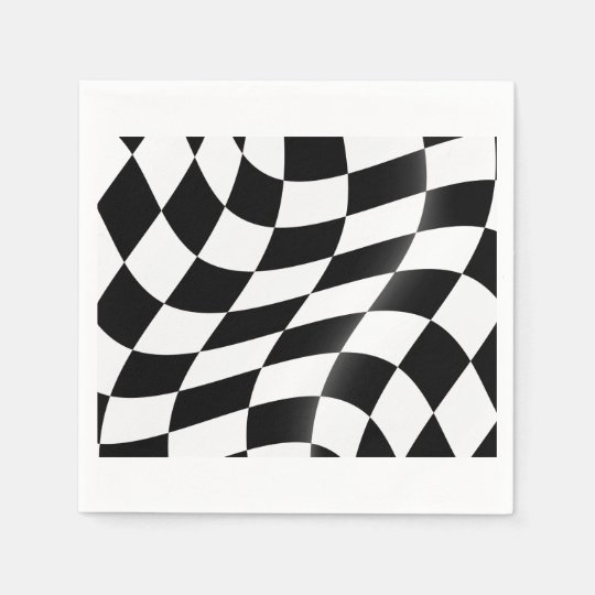 Black And White Chequered Flag Paper Napkins