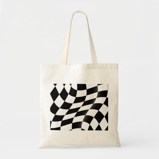 Black And White Chequered Flag Tote Bag