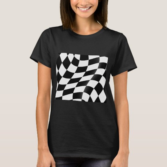 Black And White Chequered Flag Womens T-Shirt