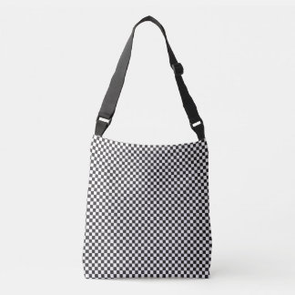Black And White Chequered Pattern Cross Body Bag