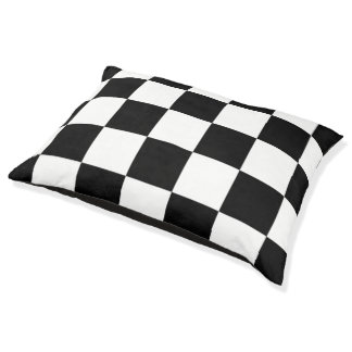 Black And White Chequered Pattern Dog Bed Large Dog Bed
