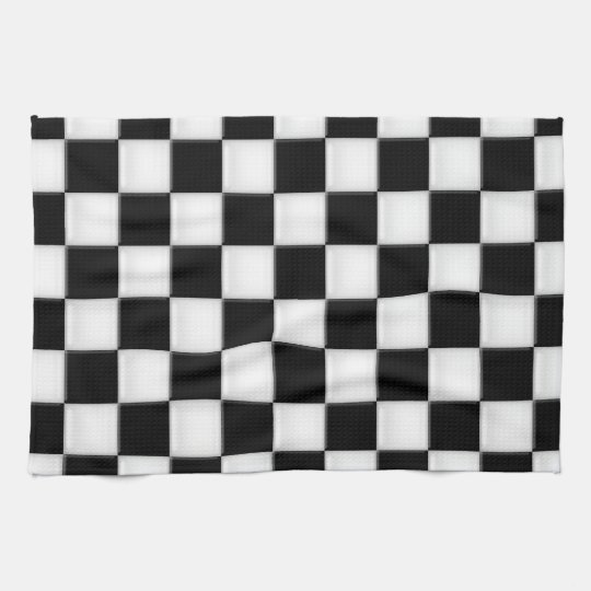 Black and White Chequered patterns Kitchen Towel
