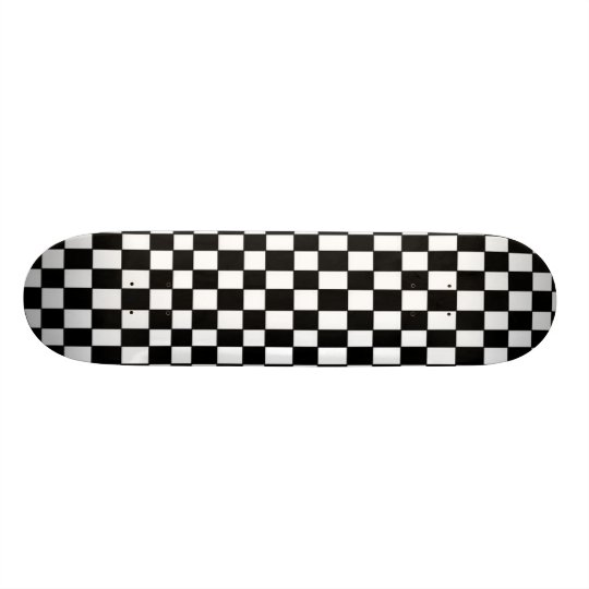 Black and White Chequered Skateboard