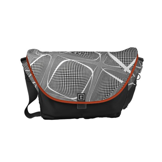 Black and White Chequered Swirl Commuter Bag