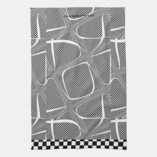 Black and White Chequered Swirl Kitchen Towel