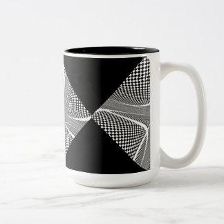 Black and White Chequered Swirl Two-Tone Coffee Mug