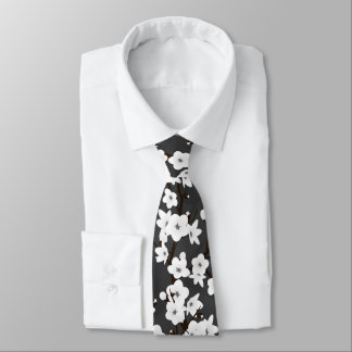 Black And White Cherry Blossom Tie