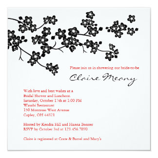 Black and White Cherry Blossoms Card