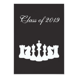 Black and White Chess Graduation Party Invitation