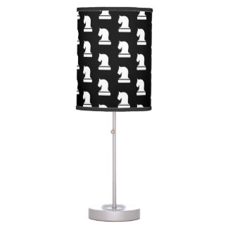 Black and white chess piece pattern table lamp
