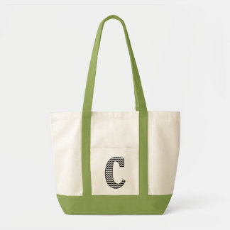"Black and White Chevron ""C"" Monogram Tote Bag"