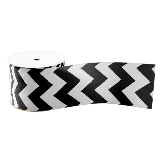 Black and White Chevron Classic Design Grosgrain Ribbon