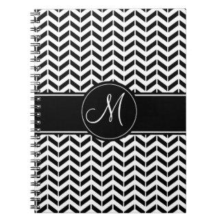 Black and White Chevron Custom Monogram Spiral Notebook