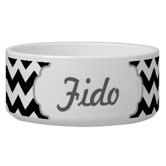 Black and White Chevron - Custom Text Pet Food Bowls