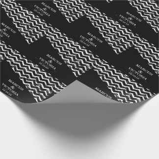 Black and white Chevron Distressed Wedding Wrapping Paper